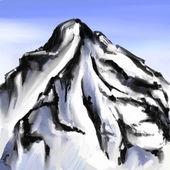 Mount landscape drawing brush strokes vector illustration — Stock Vector