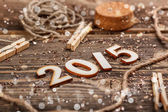 2015 year made of wood — Stock Photo