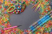 Rainbow loom bands tool — Stock Photo