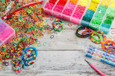 Colorful elastic loom bands — Stock Photo