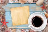 Paper with seashells — Stock Photo