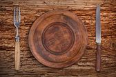 Empty wooden plate — Stock Photo