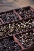 Dry tea in wooden box — Stock Photo