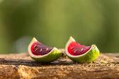 Red jello in lime peels — Stock Photo