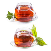Set of cups with tea — Stock Photo