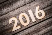 Wooden 2016 year number — Stock Photo