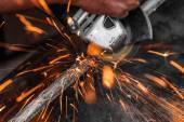 Worker cutting metal — Stock Photo
