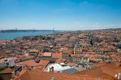Lisbon with river Tagus — Stock Photo
