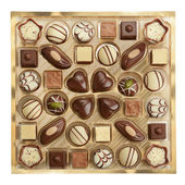 Variety of chocolates in box — Stock Photo