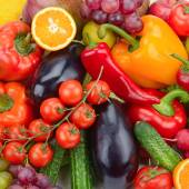 Fresh fruit and vegetable background — Stock Photo