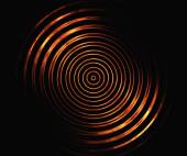 Fire symmetrical circles on a black backgrounds — Stock Photo