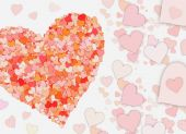 Many small red hearts on white backgrounds — Stock Photo
