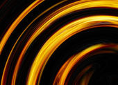 Curled bright explosion flash on black backgrounds — Stock Photo