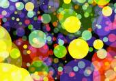 Holiday manycolored rounds bokeh backgrounds in Chaotic Arrangem — Stock Photo