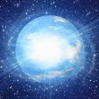 White flash of space earth planet in cosmos sky backgrounds — Stock Photo #58655207