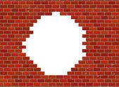 Otvor v hi-res červené malé cihlové zdi vzor — Stock fotografie