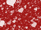 Flying white transparent hearts on red backgrounds. Love texture — Stock Photo