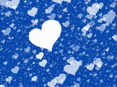 Flying white hearts on blue backgrounds. Love texture — Stock Photo