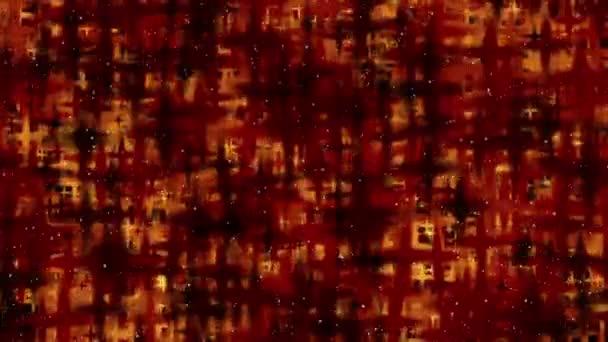 Muchas estrellas de rojo fuego de movimiento — Vídeo de stock