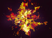 Burst of broken particle on black backgrounds with copy space — Stock Photo