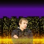 Man on many illuminated windows of houses at night backgrounds — Stock Photo #64671857