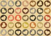 Many speckled hearts backgrounds. Holiday symbol — Stock Photo