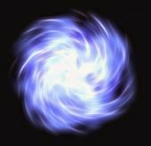 Motion curled blue flash beam in space — Stock Photo