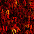 Many abstract chaotic red alphabet letters — Stock Photo #67803253