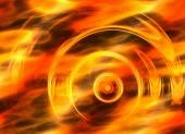 Twirl motion of bright explosion flash on fire backgrounds — Stock Photo