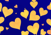 Flying yellow hearts on blue backgrounds — Stock Photo