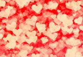 Flying white grainy hearts on red backgrounds — Stock Photo