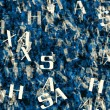Chaotic flying of many abstract blue alphabet letters — Stock Photo #72045687