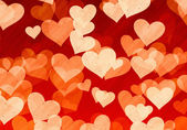 Dreamy light hearts on red backgrounds of Love symbol — 图库照片