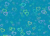 Many multicolored hearts on blue background — Stock Photo