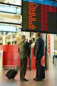 Business partners checking flight information — ストック写真