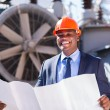 Electrical manager holding blueprint — Stock Photo #57221039
