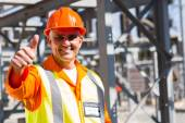 Electrician giving thumb up — Stock Photo