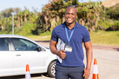 Driving instructor in testing ground — Stock Photo