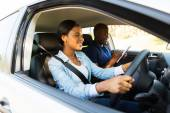 Woman taking driving test — Stock Photo