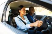 African student driver taking lessons — Foto Stock