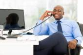 African-american businessman using phone — Stock Photo