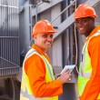 Electricians in electrical substation — Stock Photo #58172003
