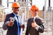 Electrical inspectors giving thumbs up — 图库照片