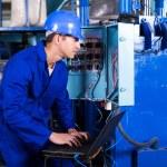 Technician checking distribution box — Stock Photo #59476723