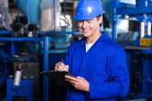 Factory manager with clipboard — Stock Photo