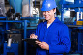 Factory manager with clipboard — Fotografia Stock