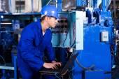 Technician checking distribution box — Stock Photo