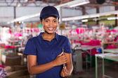 Female clothing factory supervisor — Stock Photo
