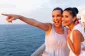 Women having fun on cruise ship — Stock Photo