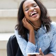 Student listening to music — Stock Photo #66102721